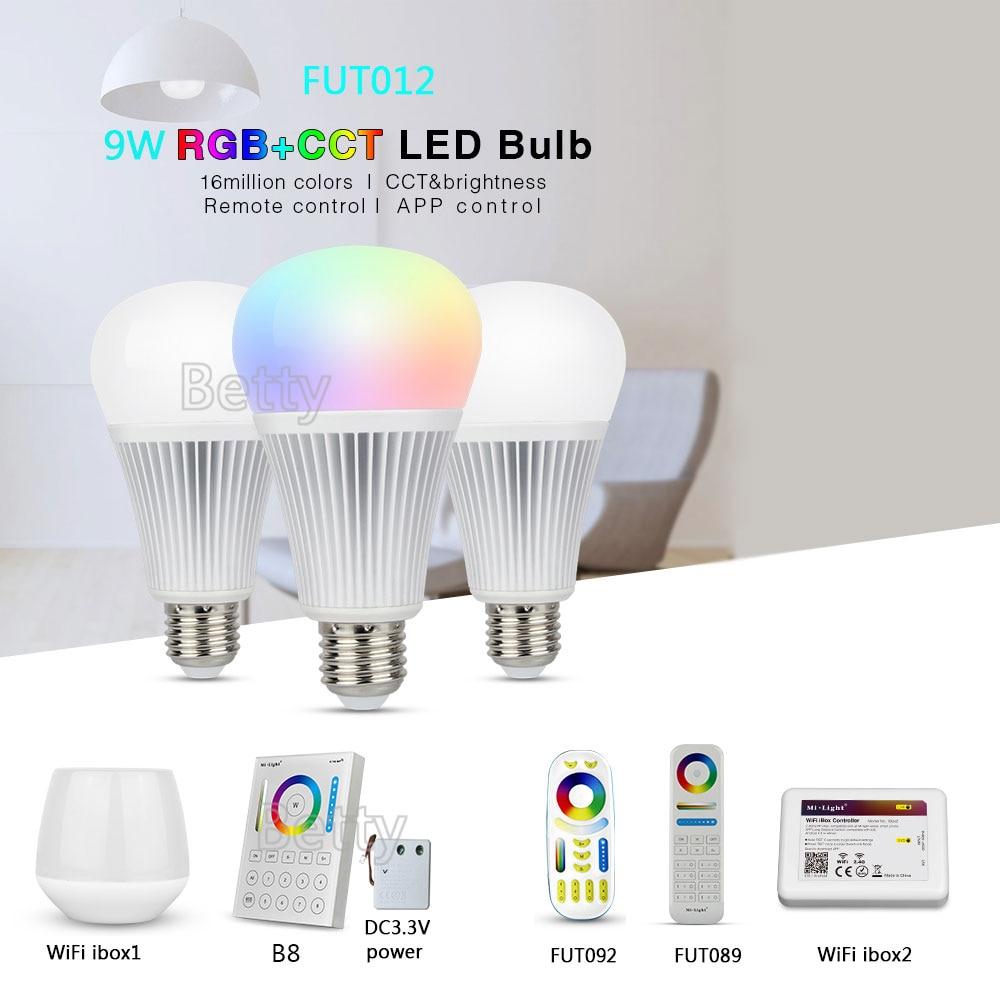 MiLight FUT012 E27 9W RGB+CCT LED Bulb Spotlight 110V 220V Full Color Remote Control Smart Bulb WiFi Compatible 4-Zone Remote milight 5w gu10 dual color temperature led bulb spotlight without remote