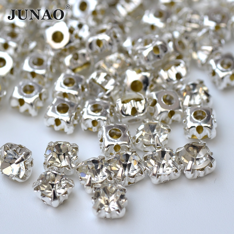 JUNAO ss50 10mm Sewing Flatback Clear Rhinestones Applique Sew On Glass Beads Claw Crystals Stones For Wedding Dress Decoration