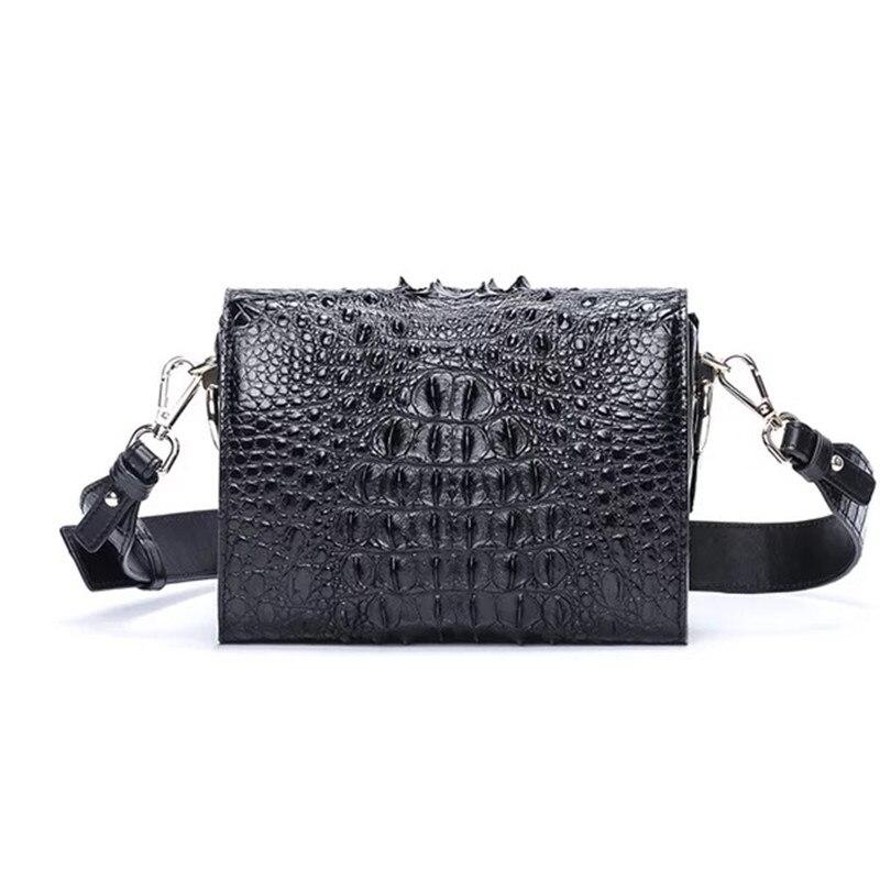 Fantaisie véritable peau de Crocodile femmes Mini sac à main dame large bandoulière boîte sac en cuir véritable Alligator femme bleu Messenger sac
