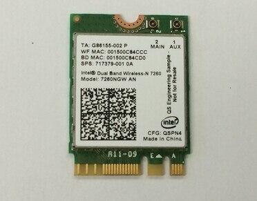 Intel dual band sem fios-n 7260 ngwan wireless-ac 72607260ngw ngff 7260an 300 mbps + bt4.0 placa wireless sps: 717379-001 para hp 810 840 850 g2