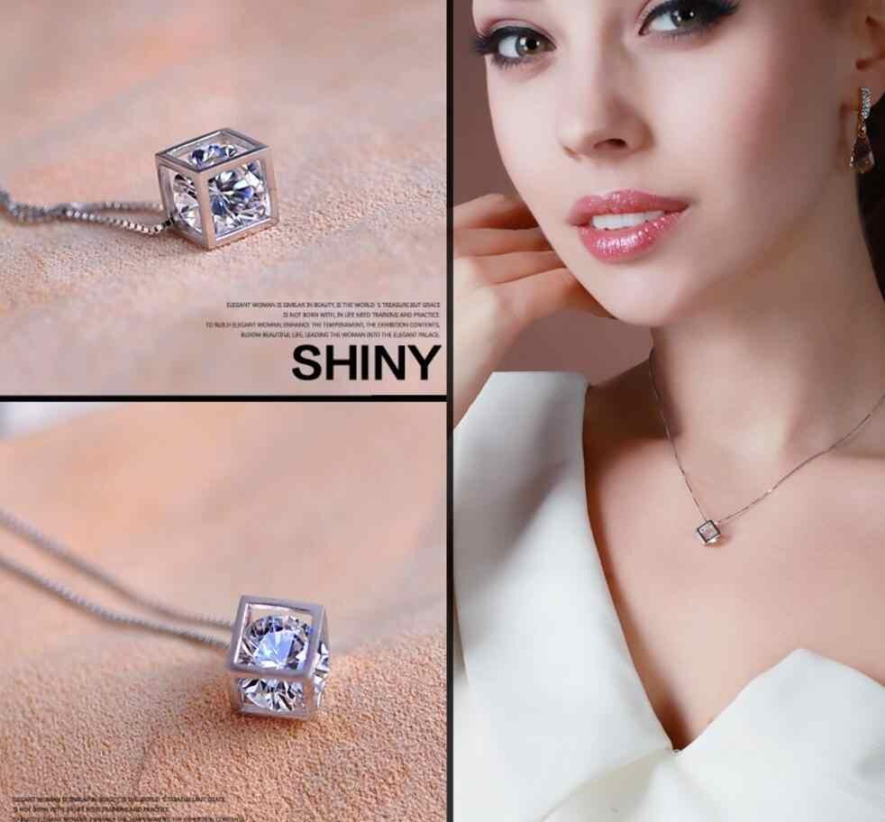 100% de plata 925 AAA conjuntos de joyas para mujeres amor cubo collares y colgantes multicapa doble gargantilla declaración collar