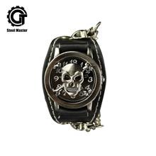 Crânio Dos Homens de Quartzo Homens Relógio Steampunk Relógios Masculino de Aço Inoxidável Gótico Hip hop Relógio Criatividade
