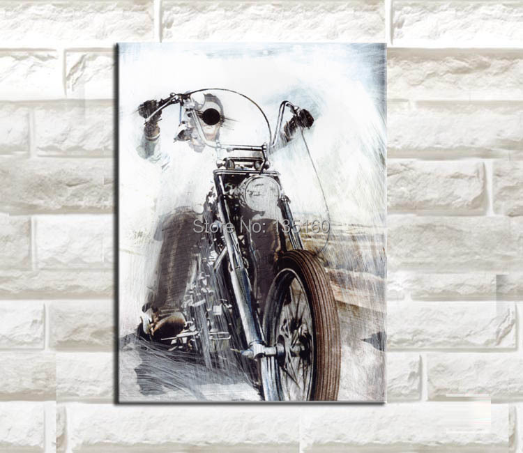 buy single wall art painting on canvas prints sketch motorcycle boys bedroom. Black Bedroom Furniture Sets. Home Design Ideas