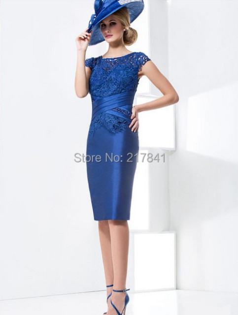 High Quality Royal Blue Satin Bridal Mother Of Bride Dress With