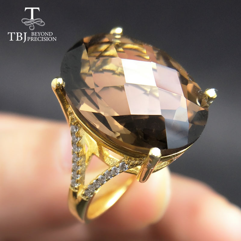 TBJ,Big 11ct smoky gemstone ring  in yellow gold color 925 sterling silver gemstone jewelry for girls with gift boxTBJ,Big 11ct smoky gemstone ring  in yellow gold color 925 sterling silver gemstone jewelry for girls with gift box