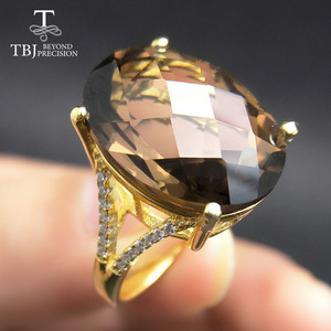 Image 1 - Tbj 、ビッグ 11ct スモーキー宝石リングイエローゴールド色 925 スターリングシルバー宝石用原石で女の子ギフトボックス