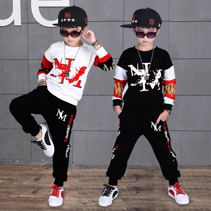 Baby Boys Hip Hop Clothing 2018 New Hip Hop Sports Two-piece Set 4-12 Years Old Cotton O-neck Spring and Autumn Boy Letter Set брюки джинсы и штанишки s'cool брюки для девочки hip hop 174059