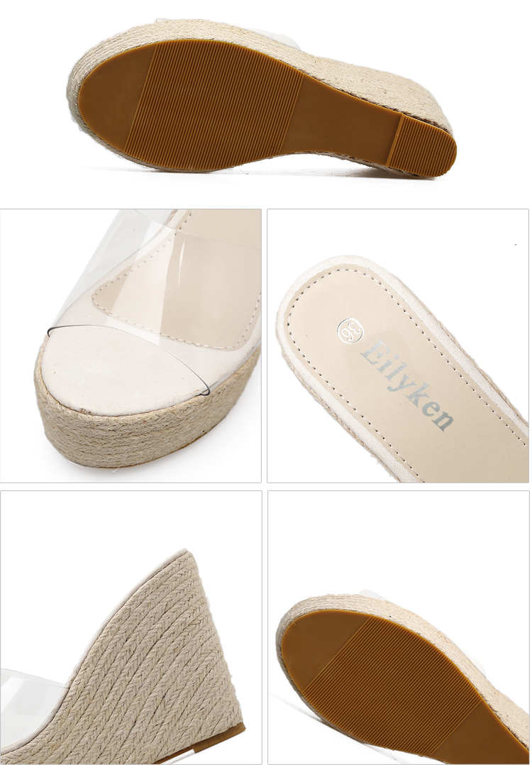 HTB1aS. noR1BeNjy0Fmq6z0wVXaE Eilyken 2019 New Summer PVC Jelly Sandals slippers Shoes Casual Sexy Wedges 11.5CM Women's Sandals slippers size 34-40