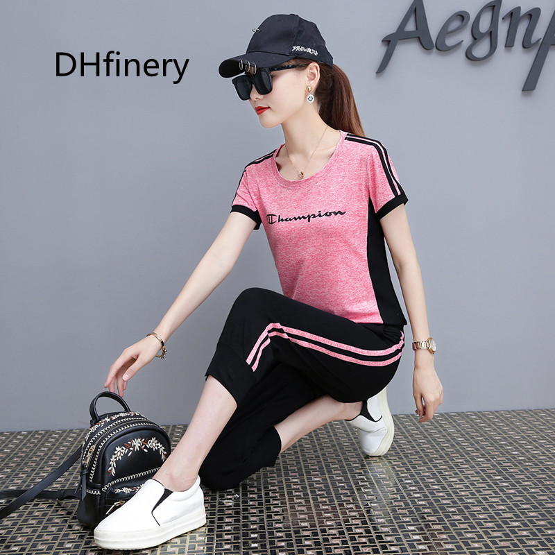DHfinery Leisure suit 2 piece set women short sleeve t shirt and trousers gray pink orange
