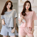 Free shipping Soprt Leisure Clothes Newest 2017 Summer Short Sleeved Women Pajamas Carton Pyjamas Lovely Sleepwear Women Sets