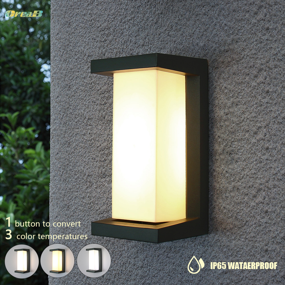 Light Control Exterior Wall Sconce Ip65 Waterproof Landscape Outdoor Led Porch Dimming Outdoor Lighting Fixtures Wall Lamp OREAB