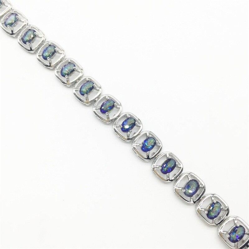 Pleasant 2017 New Gorgeous Women's charm Bracelets & bangles Oval jewelry Blue Rainbow Mystic color Silver Bracelet