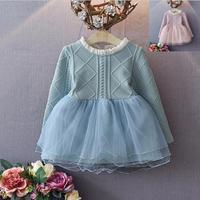2-6yearsニット冬ドレス新しい子供チュチュドレス女の子秋冬長袖プリンセスドレスピンク幼児服