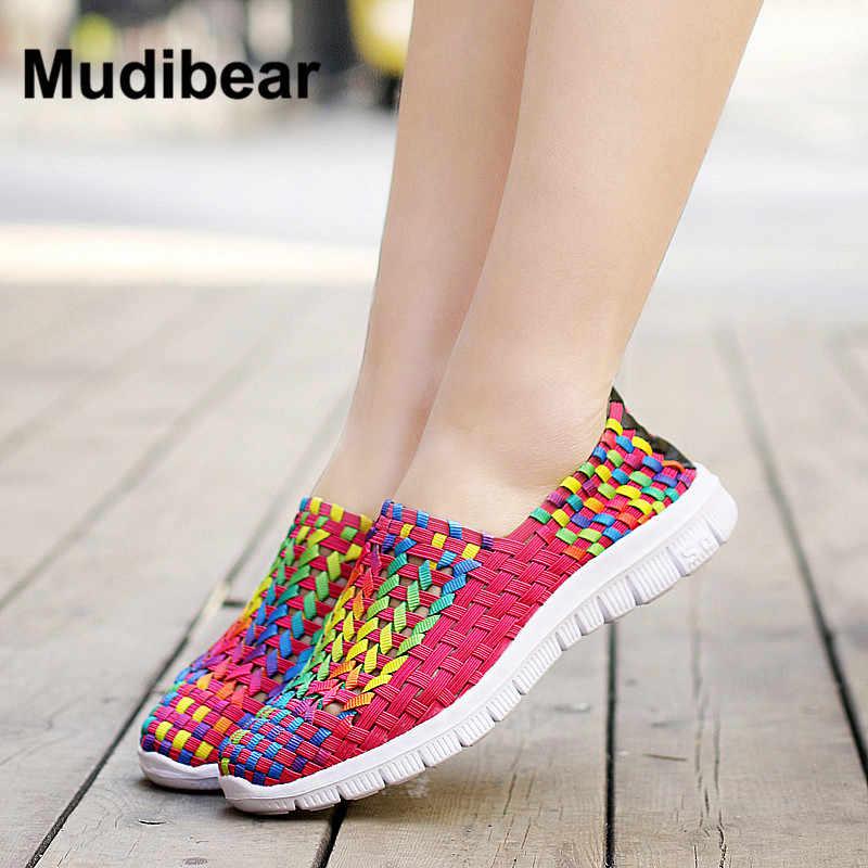 MudiPanda 2017 春女性フラットカジュアルローファーシューズ女性甘いキャンディー色ウォーキングシューズ織のための女性の靴のサイズ 35 -40