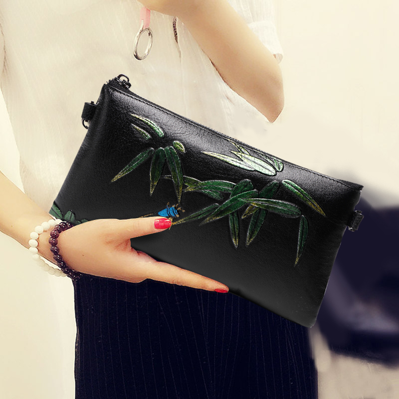National Bamboo Pattern Women Evening Clutches Genuine Leather Wallet Lady Envelope Shoulder Hand Clutch Bag Small Crossbody Bag vintage serpentine genuine leather woman clutches evening bag crossbody chain shoulder bag handbag clutch wallet lady long purse