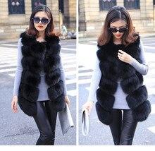 Faux vest medium-long women's sweater vest patchwork solid color formal sleeveless fox fur outerwear