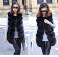 Faux vest medium-long women's sweater vest patchwork solid color formal sleeveless fox fur outerwear