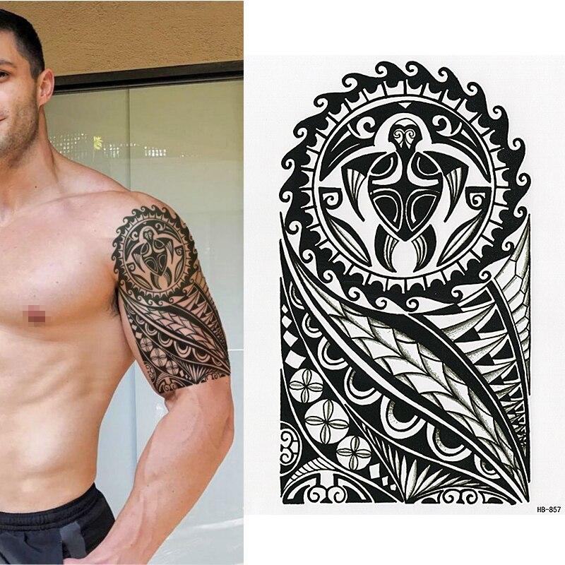 Us 09 5 Offpolynesische Tijdelijke Tattoo Schildpad Tribal Mannen Vrouwen Maori Waterdicht In Tijdelijke Tatoeages Van Schoonheid Op