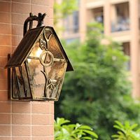 American retro waterproof outdoor wall lamp bronze aluminum house E27 frosted glass lighting fixture garden decoration lighting