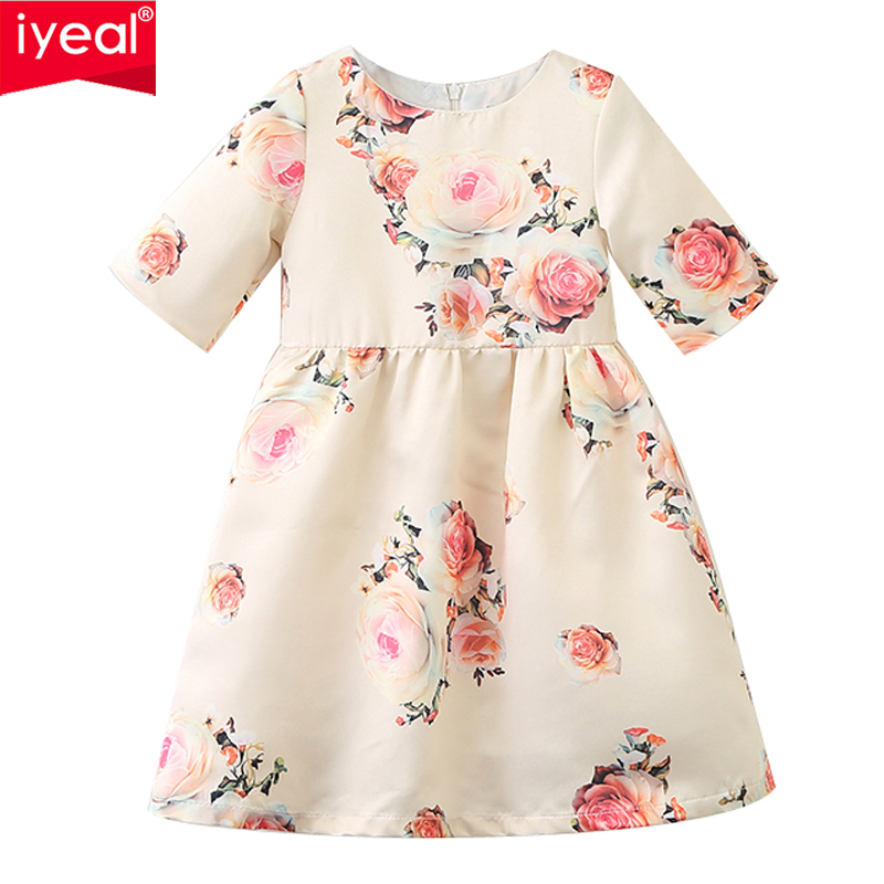 IYEAL New 2018 Girls Dress Kids Clothes Girls Party Dress Children Clothing Pink Princess Flower Girl Dresses for 2-8 Years new girls summer dress kids clothes girls party dress children clothing pink princess flower girl dresses hot sale