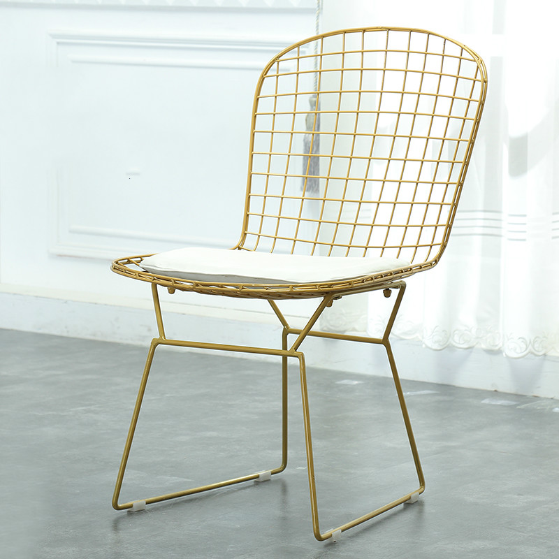Metal Wire Mesh Chair Hollow Negotiation Chair Backrest Chair Creative Simple Iron Dining Chair the silver chair