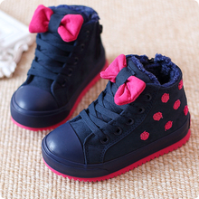 2016 winter boots snow shoes girl point bow girl cute baby shoes baby shoes children's sports shoes size 24~37