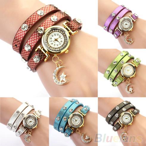 Women's Vintage Star & Moon Pendant Weave Leather Bracelet Wrist Watch 1N2Z - BlueSky- store