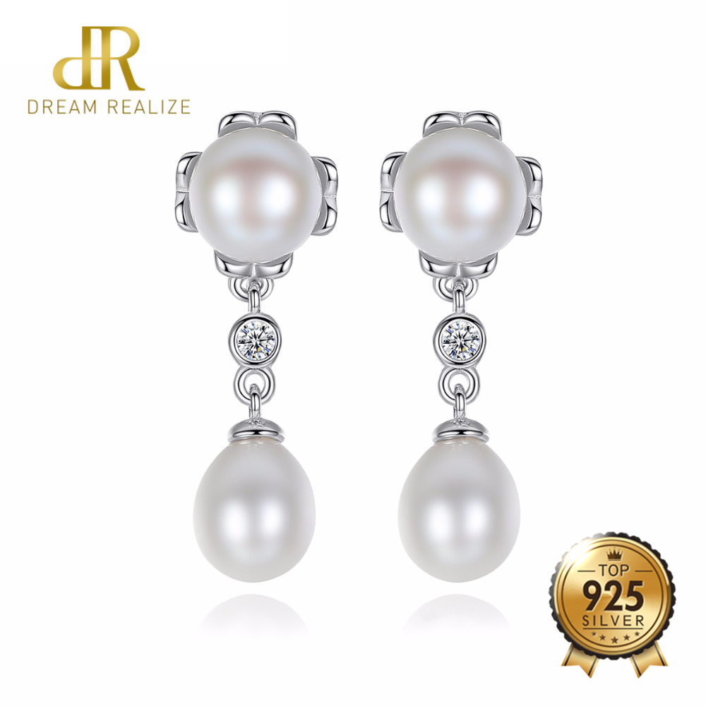DR 100% Genuine Double Pearls Long Stud Earrings Romantic Jewelry for Women Engagement Gifts 925 Sterling Silver Wedding EarringDR 100% Genuine Double Pearls Long Stud Earrings Romantic Jewelry for Women Engagement Gifts 925 Sterling Silver Wedding Earring