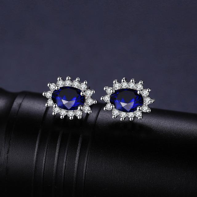 Blue Sapphire Princess Diana Halo Stud Earrings