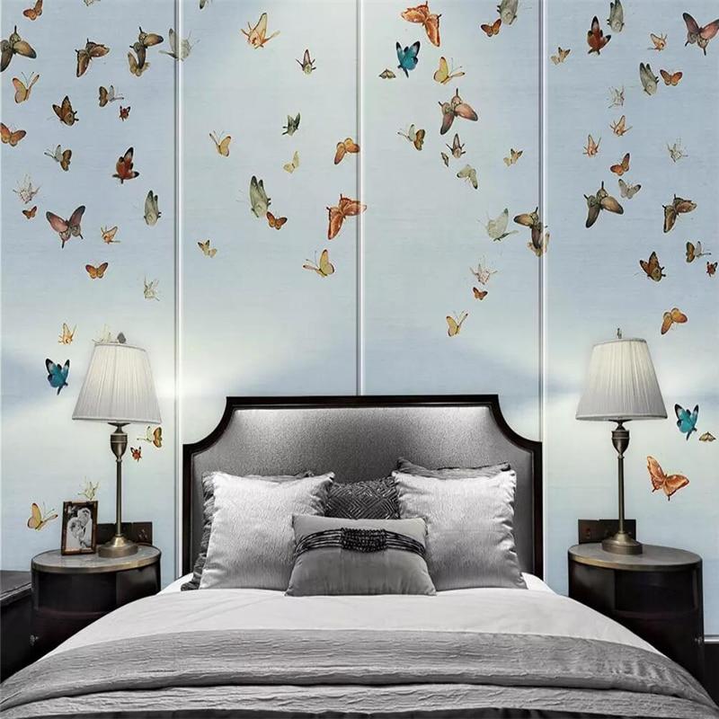 100% Wahr Dekorative Tapete Moderne Einfache Hand Bemalt Stil Schmetterling Blume Und Vogel Hintergrund Wand