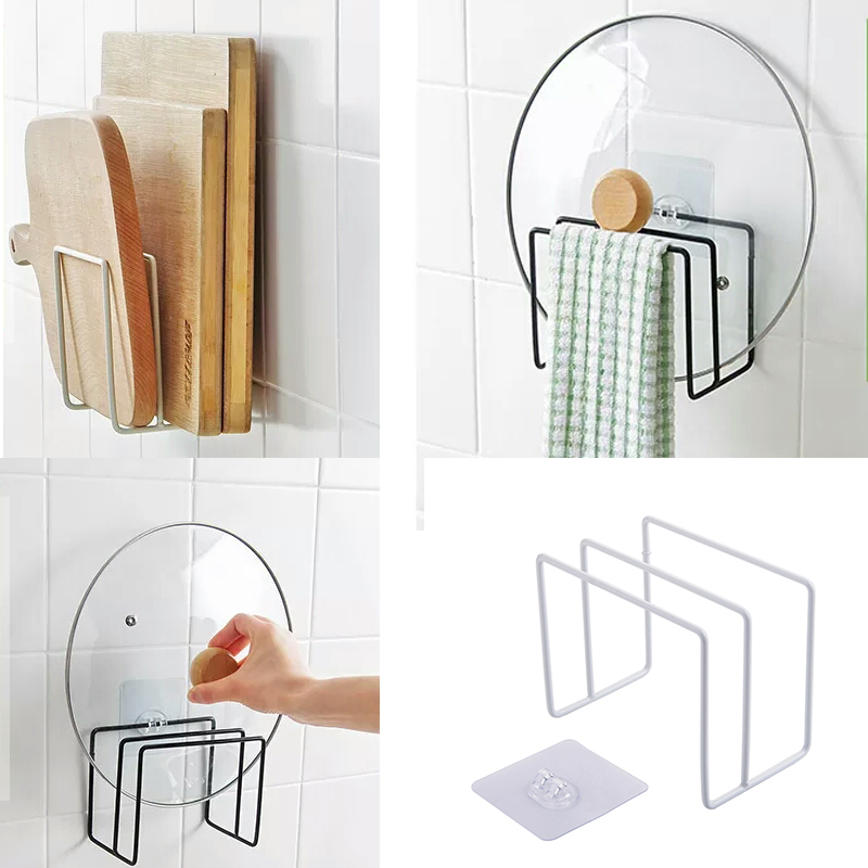 Iron Cutting Board Pot Cover Lid Holder For Kitchen Shelf Storage