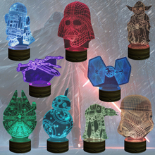 Free Shippng 3D Color changing Wood Mood Lamp Darth Vader Light USB Millennium Falcon Stormtrooper Death Star X Wing Tie Fighter