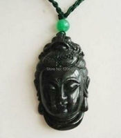 lady's gift Jewellery Rare Rare Tibet Black GEM Lucky Buddha Head Pendant necklace GEM silver jewelry for women