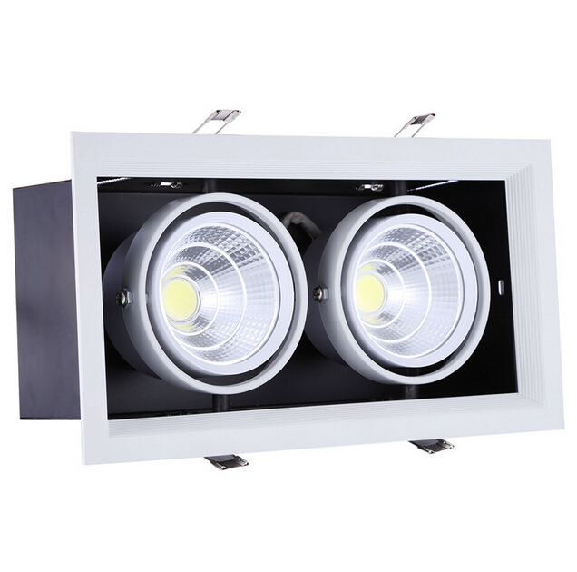 Free Shippipng 2*15W Warm Cold White Double COB LED Downlight with power Driver 30W COB LED Recessed Light  275*145mm AC85-265V 9 24w recessed led horizontal down light with external driver ac100 240v color white 2373lm 18pcs lot promotion free shipping