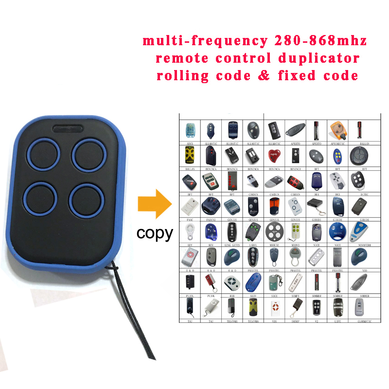 4 channel multi Frequency remote control a replacement for remotes with fixed and rolling code frequency from 280 to 868 MHz sommer remote control replacement 868 3mhz 4020 4025 4031 rolling code