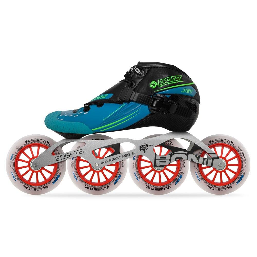 Image 3 - 2019 Original Bont Jet 2PT Speed Inline Skates Heatmoldable CarbonFiber Boot 4*90/100/110mm 6061 Elemental Wheel Skating PatinesSkate Shoes   -