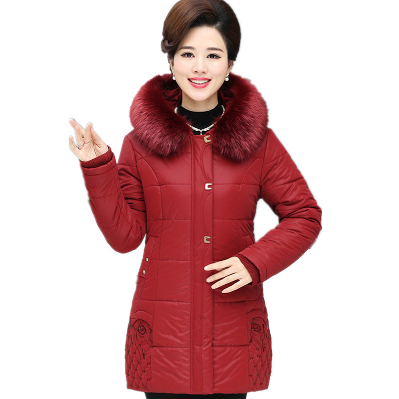 Winter Women Medium-long Middle Aged Fur Collar Hooded Parkas Thick Warm Plus Size Coat Cotton Padded Chaquetas Mujer TT3058 middle aged women winter cotton jackets thick warm parkas plus size mother cotton coats hooded fur collar outerwear okxgnz a1238