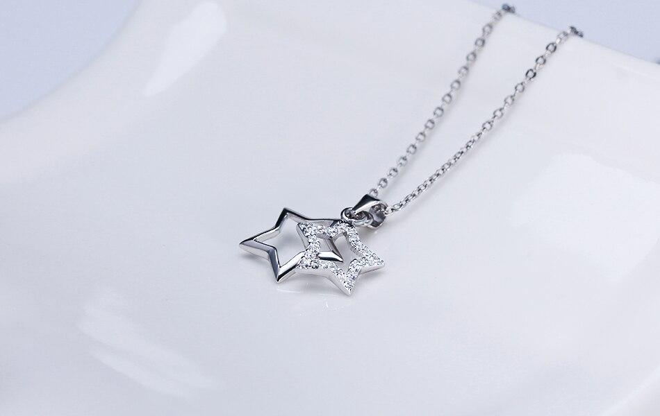 HTB1aS1HeWLN8KJjSZFGq6zjrVXaI ORSA JEWELS 100% Real 925 Sterling Silver Pendants& Necklaces Shiny AAA Cubic Zircon Star Shape Women Fine Jewelry SN82