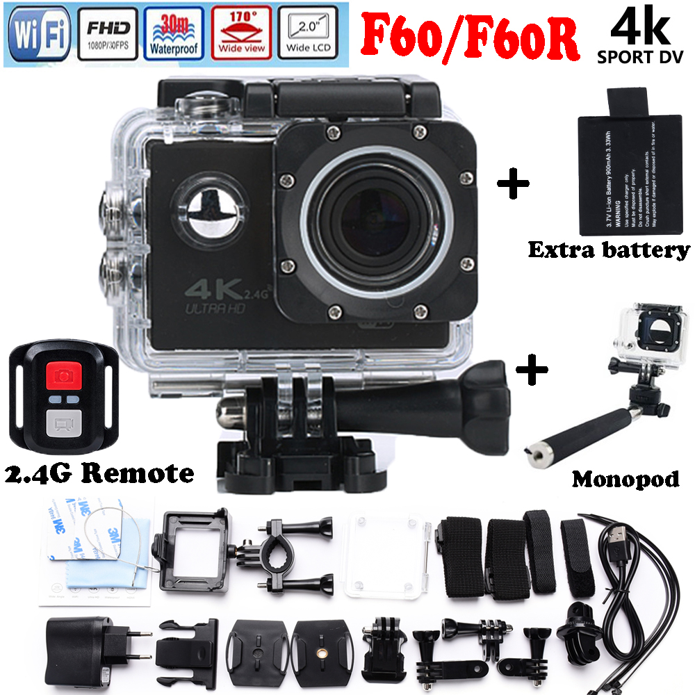 Add Battery and Monopod Ultra HD F60R 4K Action Camera Wifi go pro style 2.0 inch screen 170 Wide Lens 30M waterproof Action cam