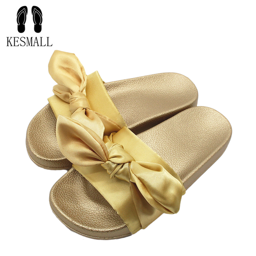 2018 Butterfly-knot Fashion Slippers Platform Sandals Summer Beach Slides Flip Flops Comfortable Flat Shoes Chaussure WS31 zapatos mujer black red summer sweet bowtie flat sandals slip toe beach sandals butterfly knot flat sandals shoes plus size 44