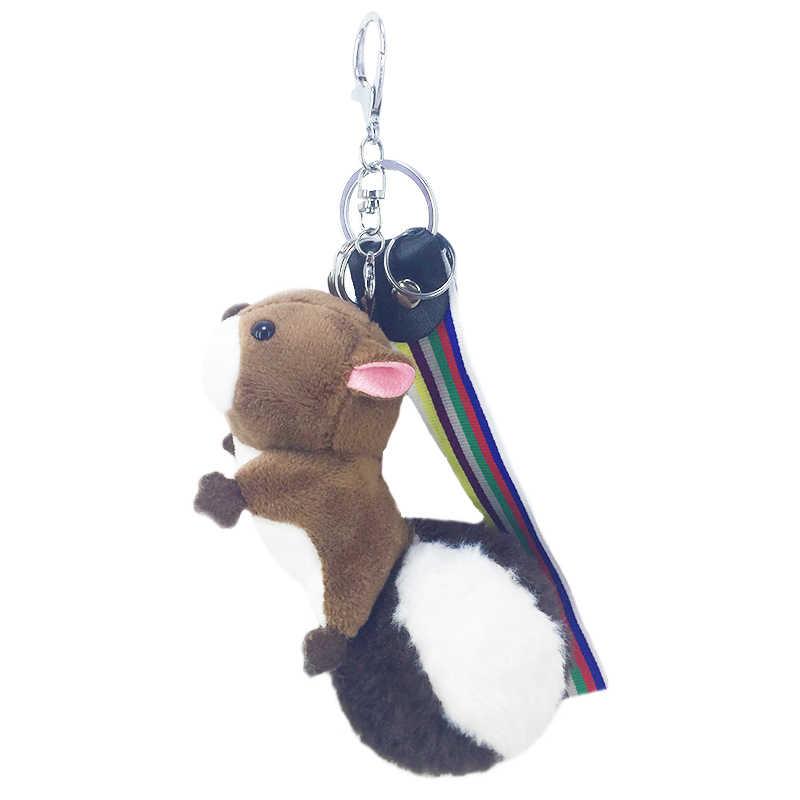 Dos desenhos animados pequeno esquilo pokemon chaveiro coelho pele fofo pompom chaveiro saco pingente jóias brinquedo da criança carro chave acessórios novo