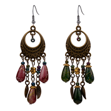 ER378 Ethinic Antique Bronze Bohemia Beaded Vintage Earrings For Women Lady New Jewelry Bijouterie