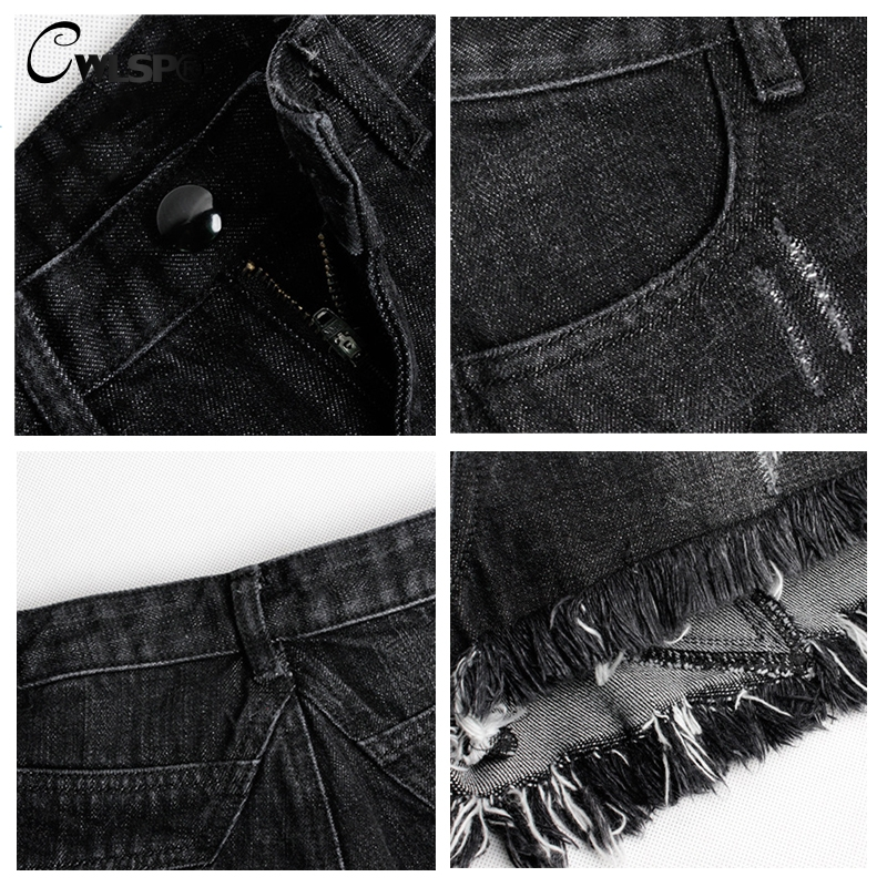 CWLSP 2018 Summer S 3XL Women 39 s Vintage Tassel High Waisted Black Short Jeans Fashion Lady Denim Shorts Plus size QL3564 in Shorts from Women 39 s Clothing