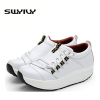 5 5CM Thick Soles Women Toning Shoes Spring Autumn Wedge Platform Loss Weight Slimming Sneakers Leather