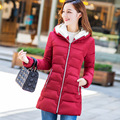 T china cheap wholesale 2017 autumn winter new women Long section big size slim show thin cotton-padded jacket knitted cap tide