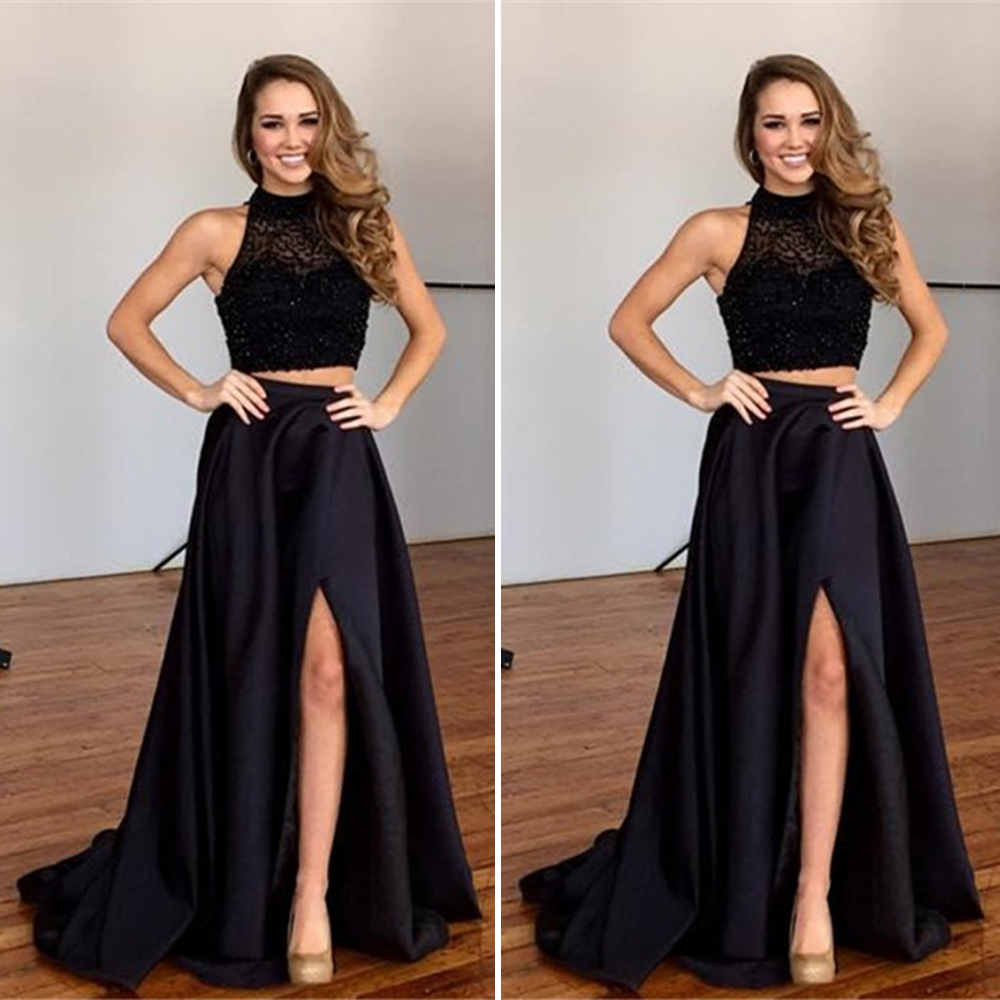 Pretty Two Piece Black Prom Dresses Beaded
