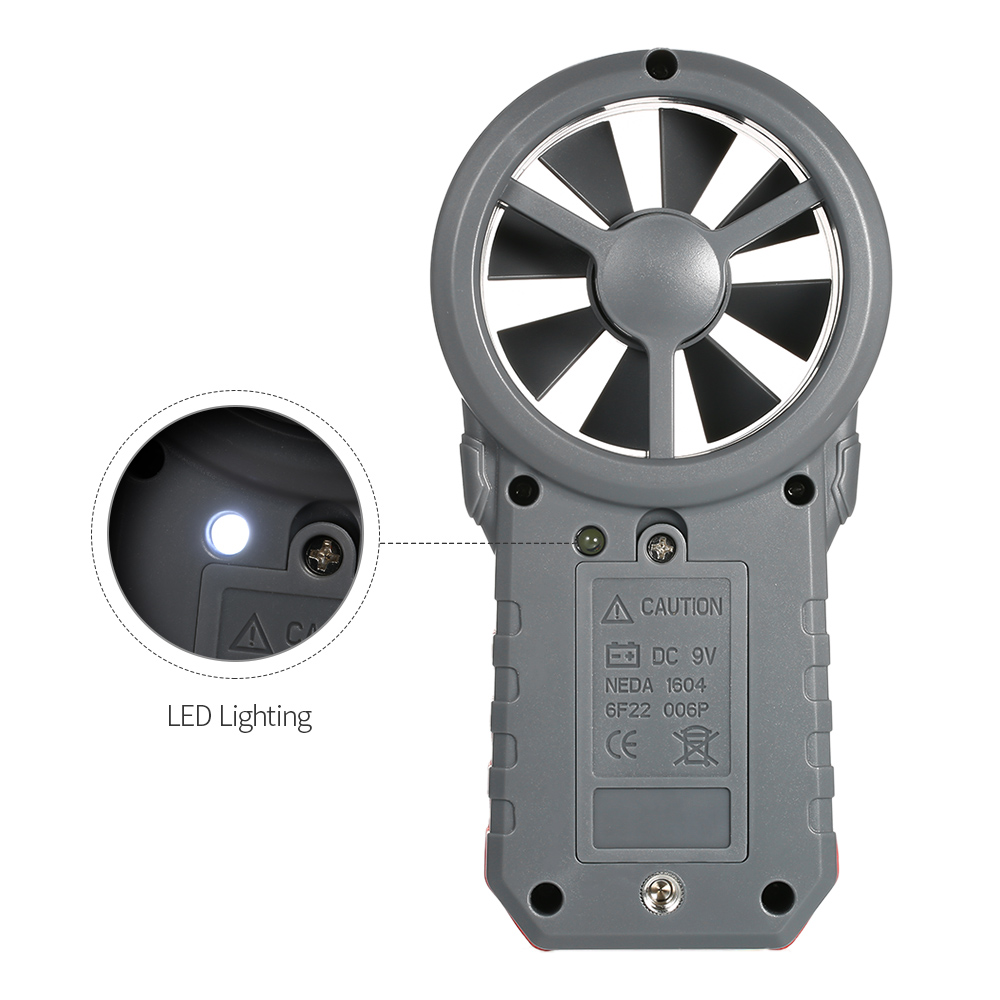 Digital Anemometer as Wind Speed Meter with Flashlight for Air Velocity and Air Temperature Test 12