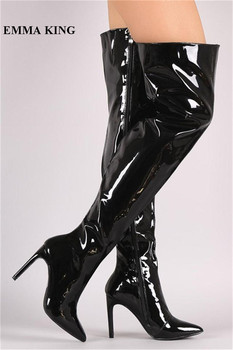 EMMA KING Sexy Patent Leather Over The Knee Boots Women Mirror Pointed Toe Super High Heels Night Club Party Thigh High Boots