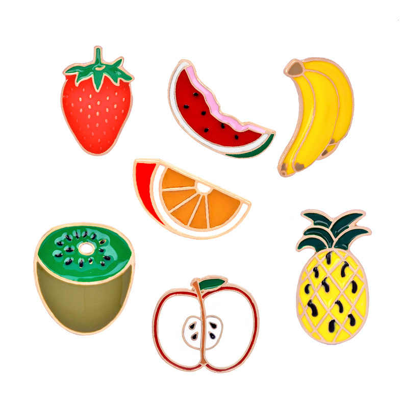 2018 Kartun Enamel Pin Buah Pine Apple Apple Semangka Bros Pin Lencana Cute Logam Pisang Bros Pin untuk Wanita