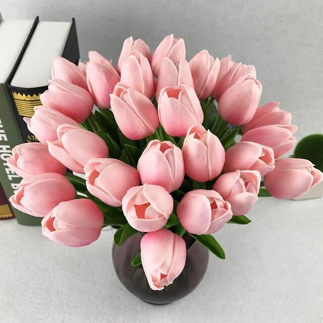 placeholder 10 pcs lot Bunga Buatan murah PU plastik bouquet Nyata sentuh Tulip  bunga Untuk 4e4ba89506